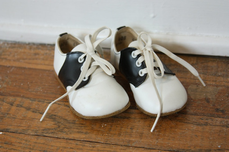 Children's Black and White Sock Hop Shoes