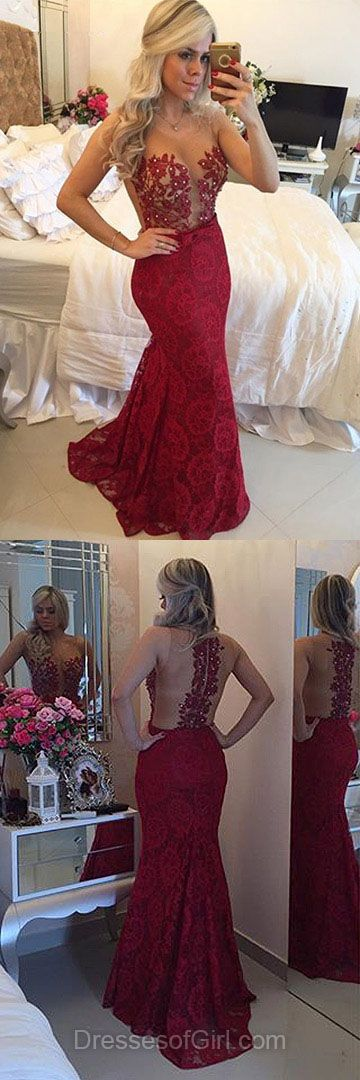 Sexy Prom Dresses, Burgundy Prom Dress, Long Evening Dresses, Mermaid Party Dresses, Open Back Formal Dresses