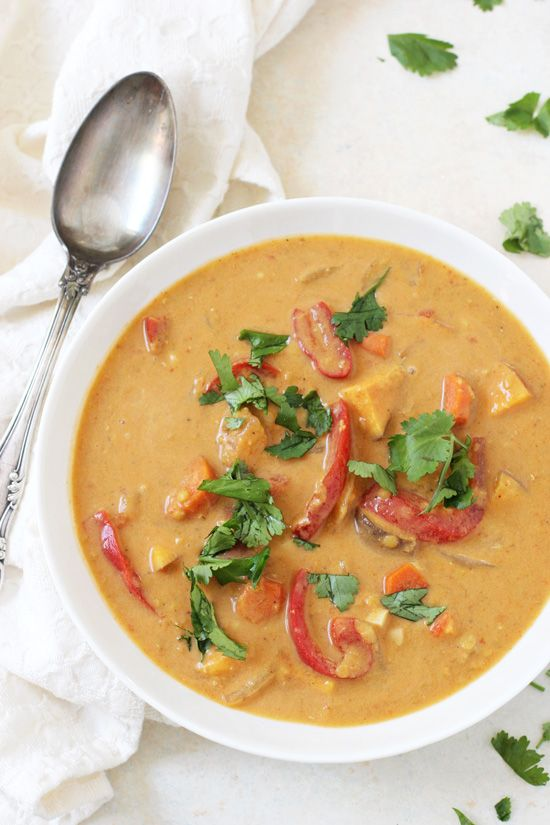 Super easy & oh-so-cozy slow cooker thai sweet potato soup! Creamy, flavorful and healthy! And your crockpot does all the work!