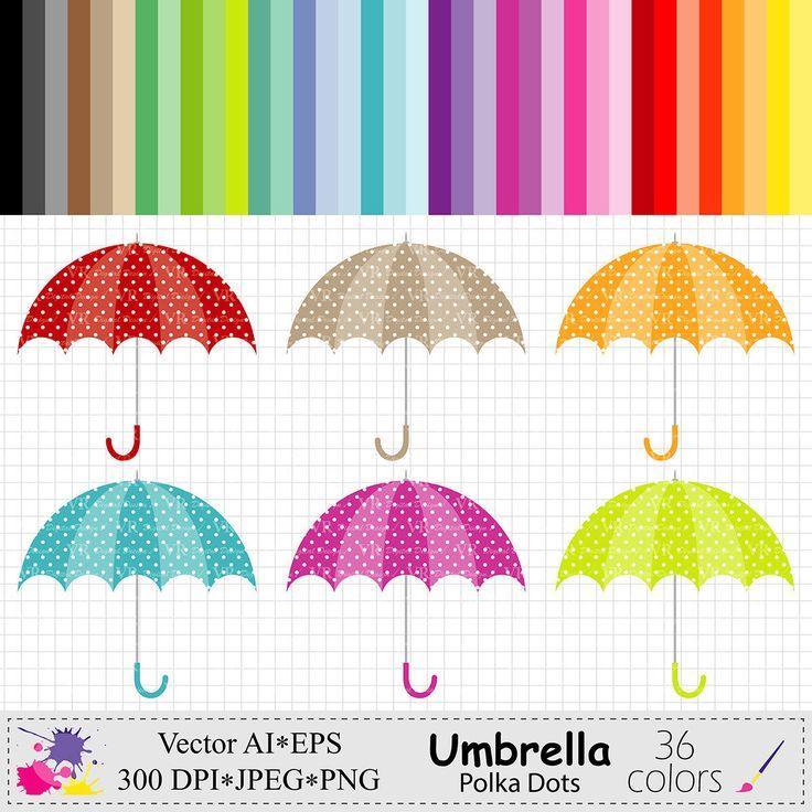 Umbrella Clip Art, Polka Dots Umbrella Clipart, Rainbow Umbrellas Clipart, Planner Stickers Instant Digital Download Vector Clip Art by VRDigitalDesign on Etsy