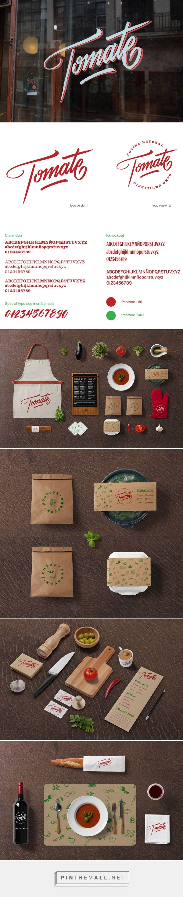 Tomate packaging branding on Behance via re-robot studio Montevideo, Uruguay curated by Packaging Diva PD. Identity for a healthy Restaurant in the old town part of Montevideo.
