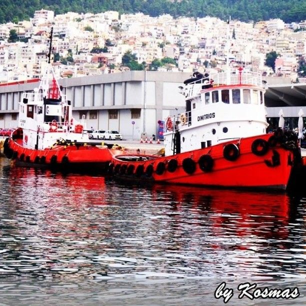 Two awesome tug boats at the port of Kavala. Photo from our vacations in Kavala in 2011.  #ship #sealife #sea #ships #ocean #nature #ilovesea #blue #summer #summervacations #tugboats #instagrampics