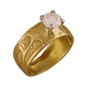 Native American Eagle Ring, Gold with Diamond by David Neel, Northwest Coast Native Jewelry & Art, Native American Indian art, Canadian Aboriginal art, Jewelry, Masks, & Paintings.