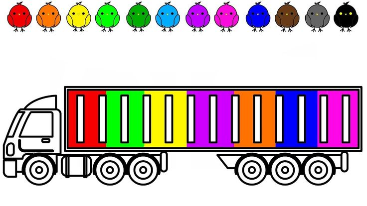 Container colouring pages, Learn colors for kids with construction truck...