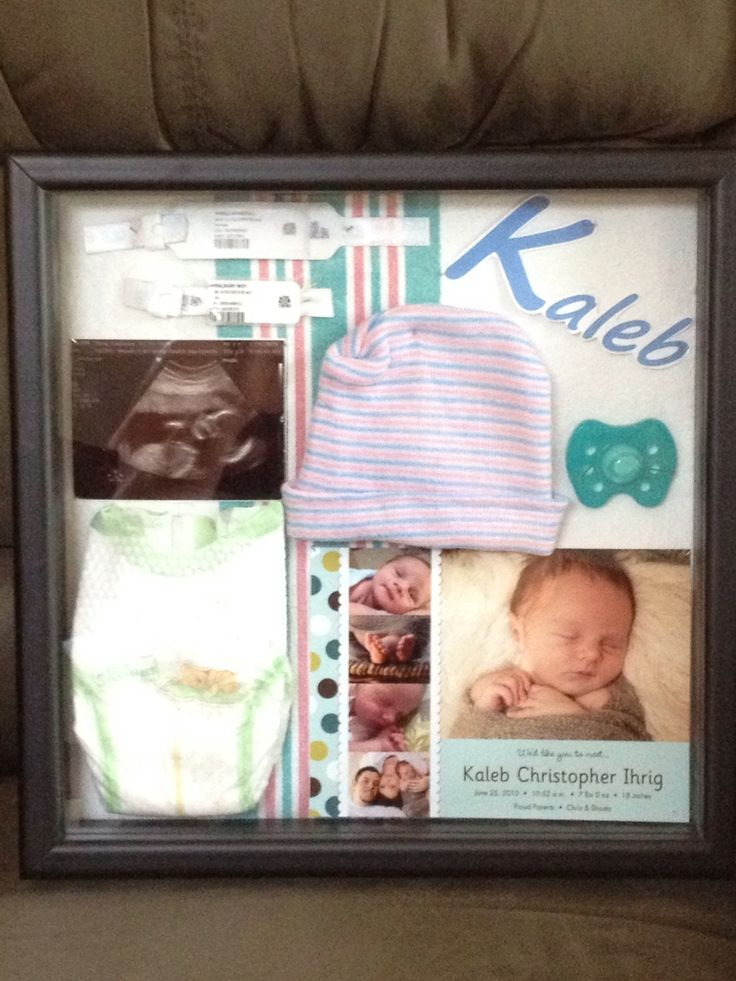Newborn shadow box- using the hospital blanket for background