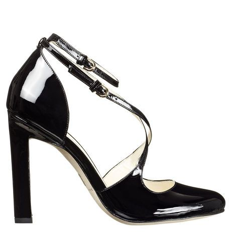 Single sole strappy round toe pump with razor edge heel: Toe Pumps