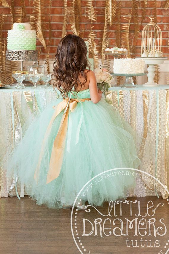 Mint Green Tutu Dress with Gold Sash by littledreamersinc on Etsy, $75.00