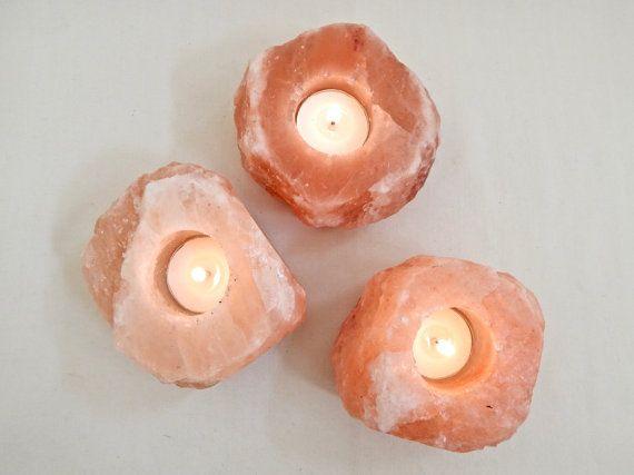 Salt Crystal Candle Holders Healing Himalayan by NaturalArtWorld