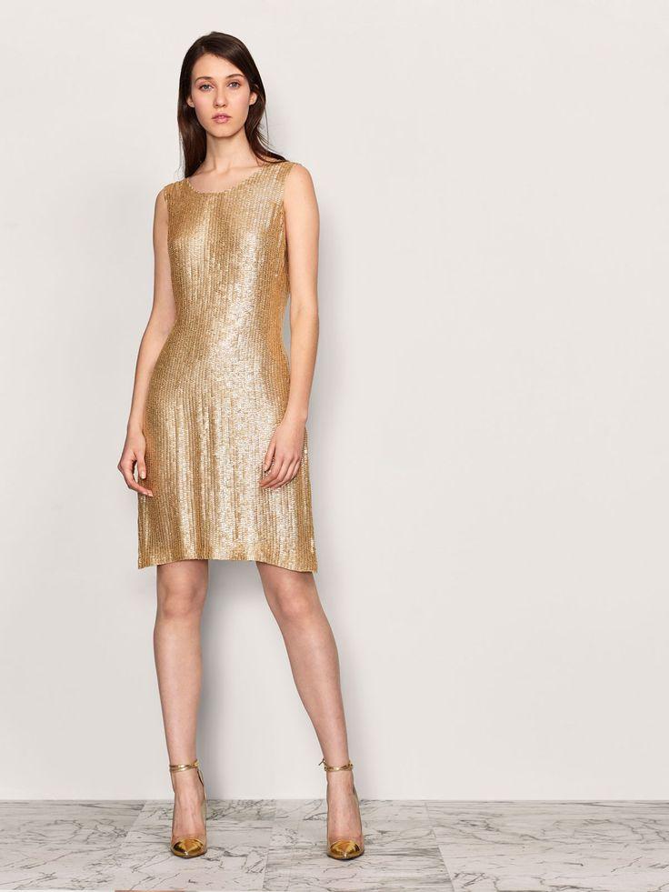 Vestido de fiesta de lentejuelas dorado coleccion javier ...