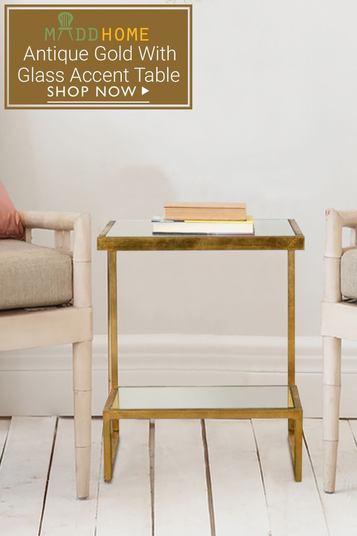 Give a stunning look to your #decor with Contemporary design of this Antique Gold Accent Table with Glass Top. Don't miss the exciting offers only on Maddhome.  Click here: goo.gl/zNeMtX