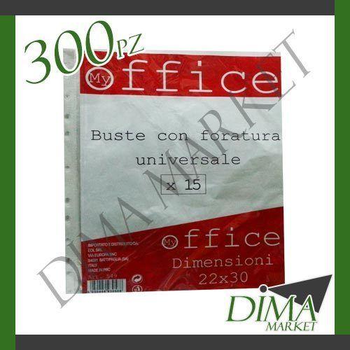 300 PEZZI OFFICE BUSTE TRASPARENTI CON FORATURA UNIVERSALE 22X30 CM
