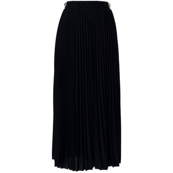 Chicwish Chiffon Black Pleated Maxi Skirt ($41) ❤ liked on Polyvore featuring skirts, maxi skirt, chicwish, black, pleated chiffon skirt, pleated chiffon maxi skirts, long chiffon skirt, long accordion-pleat skirt and pleated skirt