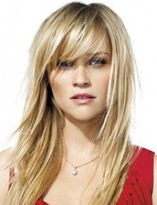 Reese Witherspoon with Sideswept Bangs- Read all about the different types of bangs!