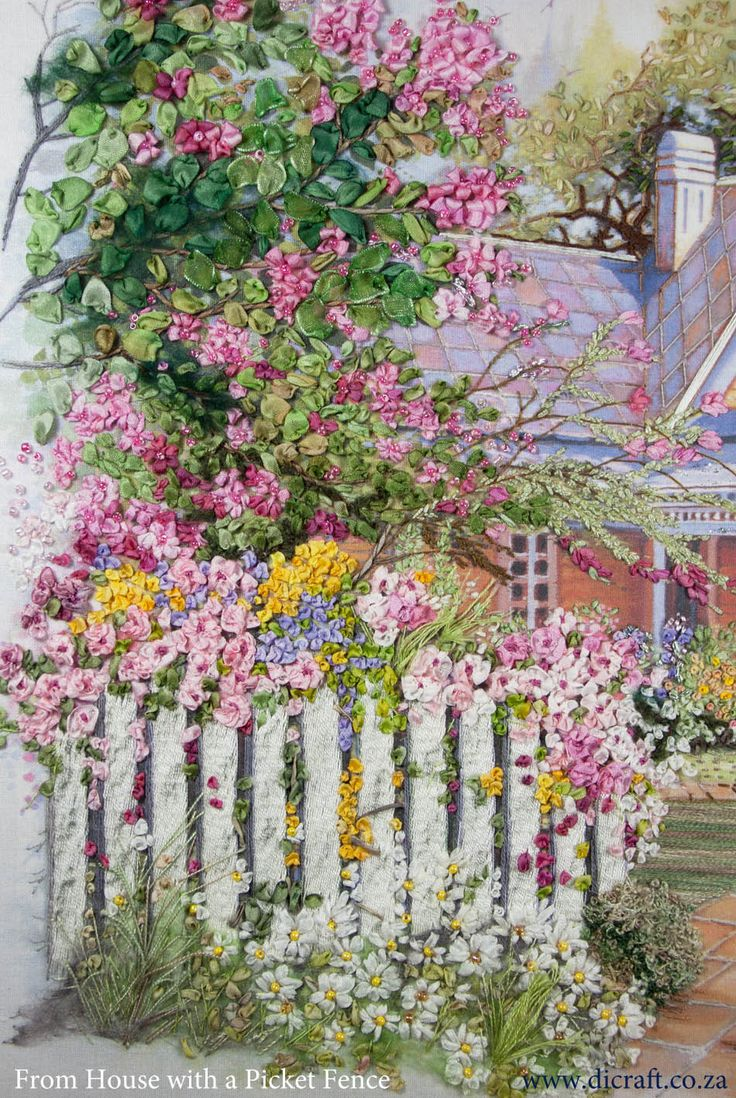 House with a Picket Fence by Emma Kriegler. Look closely. This is silk ribbon embroidery. Beautiful!
