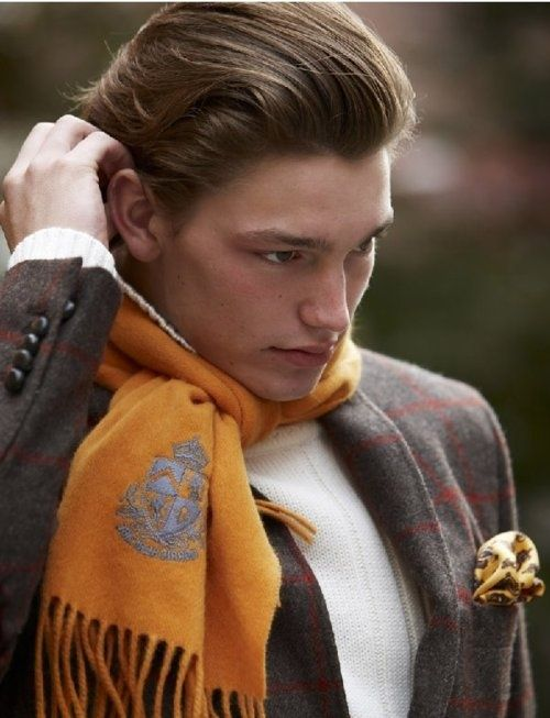 Orange scarf with gray crest