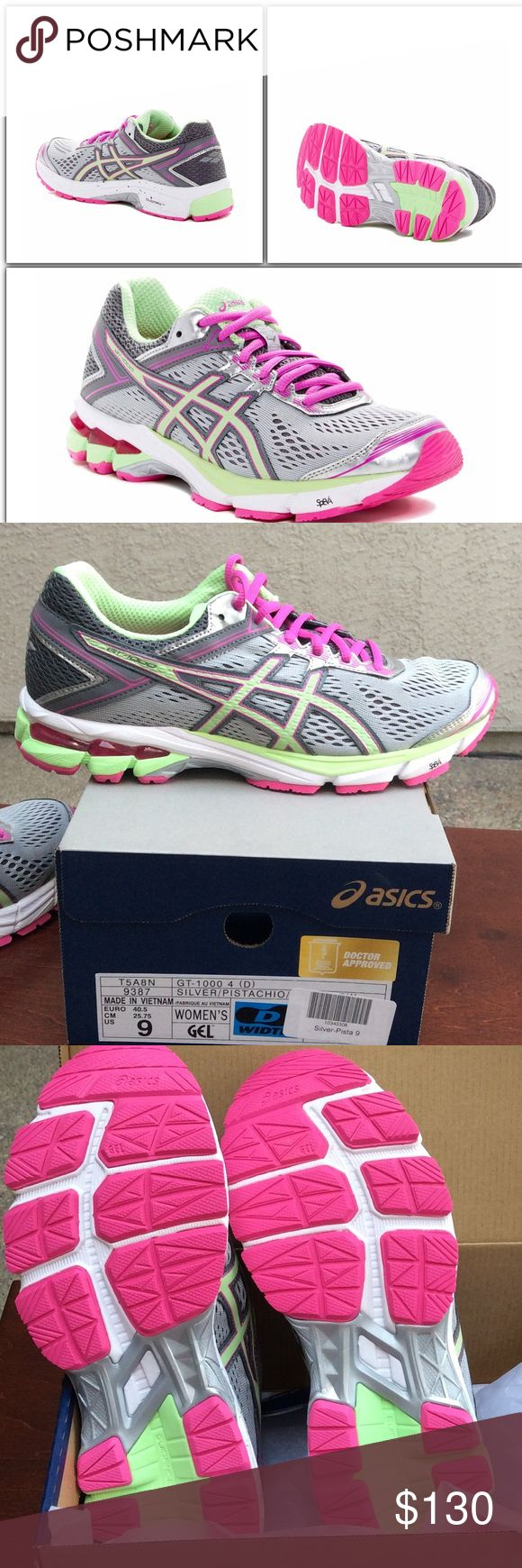 Asics Retail for $410!!   Sz: 9W  Athletic Shoe Retail Price $410   Wide Width   Asics Style # GT-1000-4  These shoes run true to size   Color: Pink, Silver and Pistachio Features: Round toe with bumper - Lace-up vamp  -  padded tongue and collar  -  removable padded insole  - synthetic fiber and synthetic leather upper, rubber sole 🎀 Asics Shoes Athletic Shoes