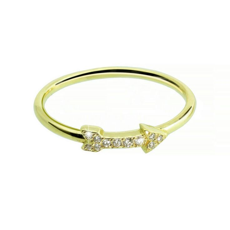 18ct yellow gold cupid mid finger ring sparkling with 0.03ct diamonds.  Www.espoir.com.au