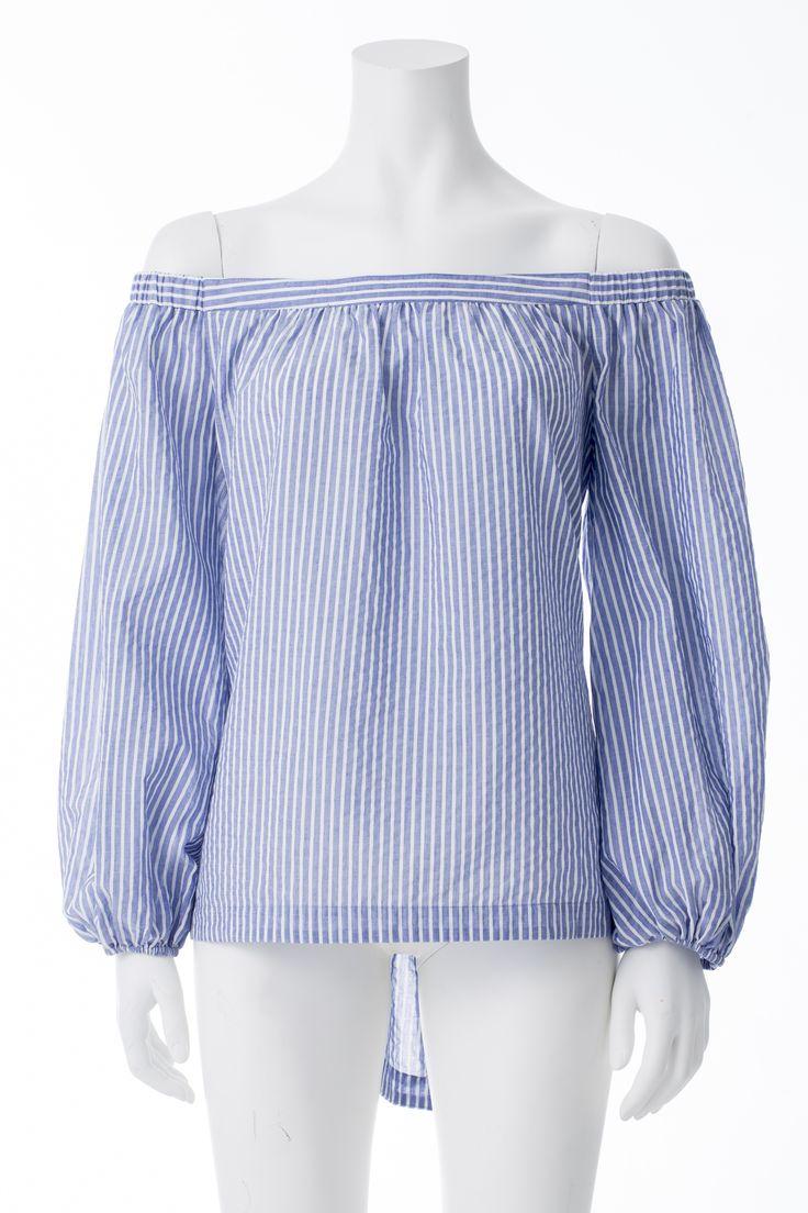Haut rayé bleu et blanc style lolita, BCBG, 173$* White and blue striped Lolita top, BCBG, $173