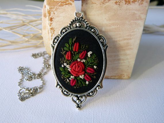 Rose necklace, Oval pendant, Embroidered jewelry, Embroidered necklace, Hand Embroidery