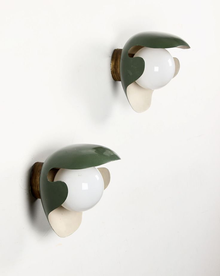 Palle Suenson; Enameled Brass, Patinated brass and Glass Wall Lights, c1940.