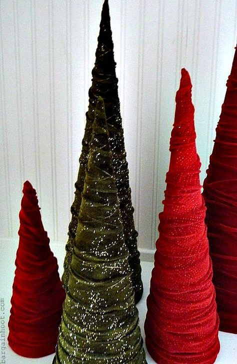 TUTORIAL: how to make these easy and inexpensive velvet cone Christmas trees