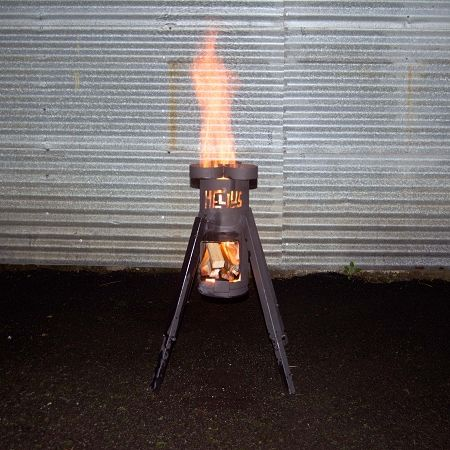 Helius Rocket Stove - Portable wood stove fueled by anything, um, yes please!!
