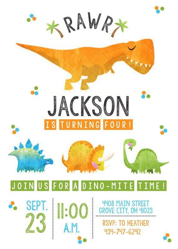 dinosaur birthday invite dinosaur