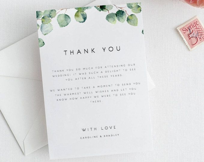 Greenery Wedding Thank You Card Template Eucalyptus Thank You Note Wedding Silver Leaf Thank Wedding Thank You Cards Wedding Thank You Thank You Card Template
