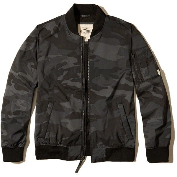 Hollister Camo Nylon Bomber Jacket ($70) ❤ liked on Polyvore featuring men's fashion, men's clothing, men's outerwear, men's jackets, black camo, mens nylon jacket, mens camouflage jacket, mens camo jacket, mens nylon bomber jacket and mens camo bomber jacket