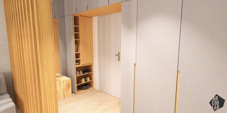 Návrh predsiene so šatníkovou skriňou - Interiér bytu Dibrovova, Stará Turá - Interiérový dizajn / Hall interior by Archilab