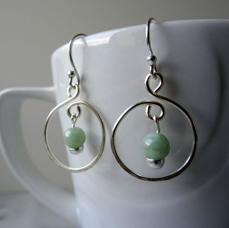 Jade hoop earrings, Jadeite earrings, genuine Jade, hand forged earrings, Jade drop earrings, green hoop earrings, boho chic earrings, UK - pinned by pin4etsy.com