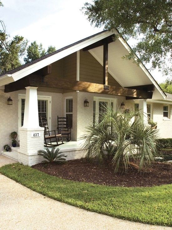 A bit modern for me, but I like the column and the colors. Painted Brick Exterior Design, Pictures, Remodel, Decor and Ideas  consider white painted brick below and a warm gray painted siding above?