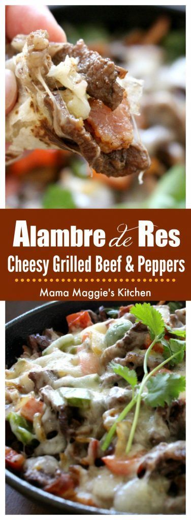Alambre de Res is made of grilled beef, bacon, bell peppers and topped with cheese. Delicious Mexican street food and easy-to-make at home. by Mama Maggie's Kitchen via @maggieunz #mexicanfood #mexican #mexicanrecipes #beef #bacon