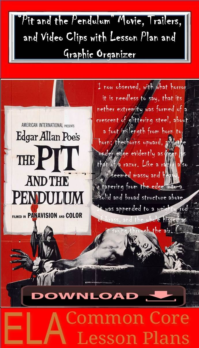 images about edgar allen poe poem edgar this pit and the pendulum movie lesson plan covers common core standards here