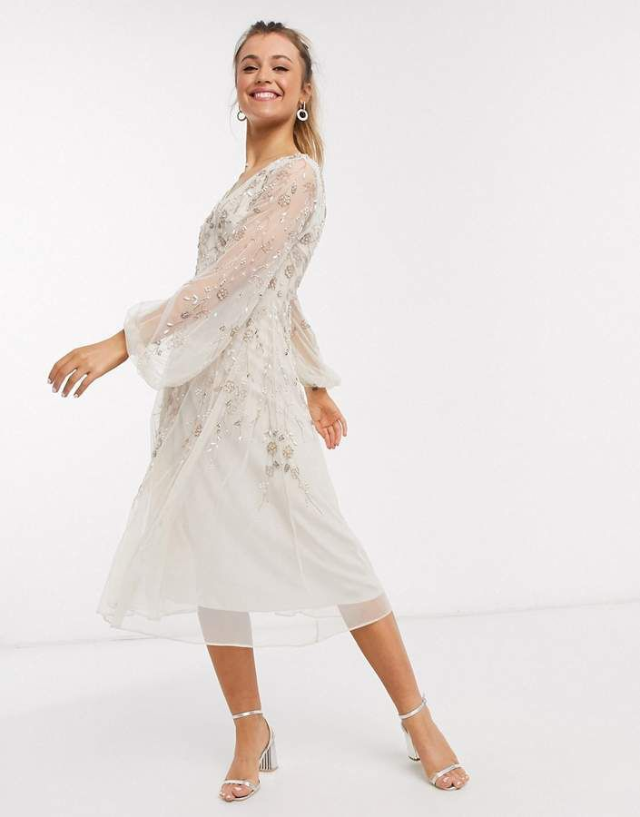 Asos Design Midi Dress With Blouson Sleeve And Delicate Floral Embellishment