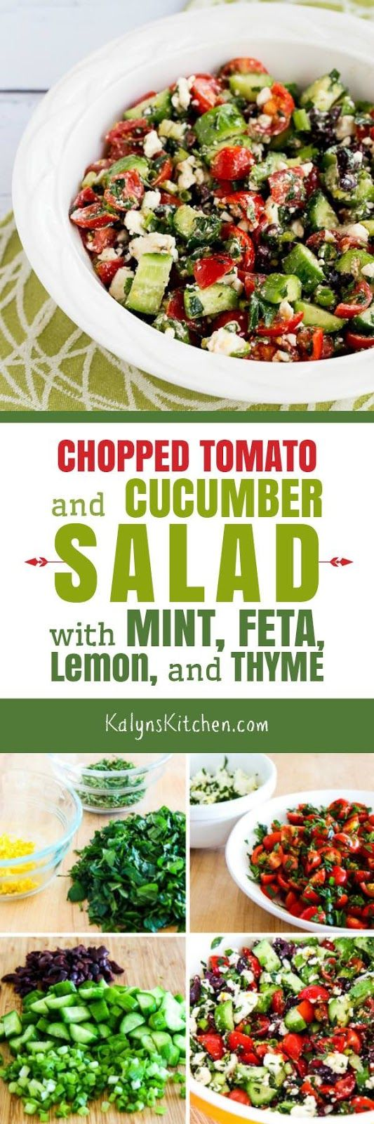 There's an interesting preparation method for this Chopped Tomato and Cucumber Salad with Mint, Feta, Lemon, and Thyme that infuses the salad with wonderful flavor. This amazing salad is not to be missed, and it's low-carb, gluten-free, meatless, and South Beach Diet friendly! [found on KalynsKitchen.com]