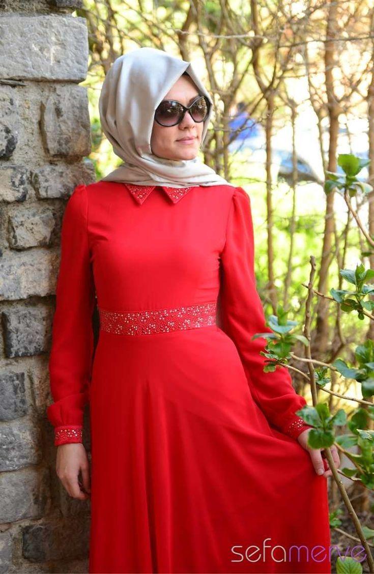 2014 Yazlık ZRF Tesettür Elbise 9044-05 Kırmızı