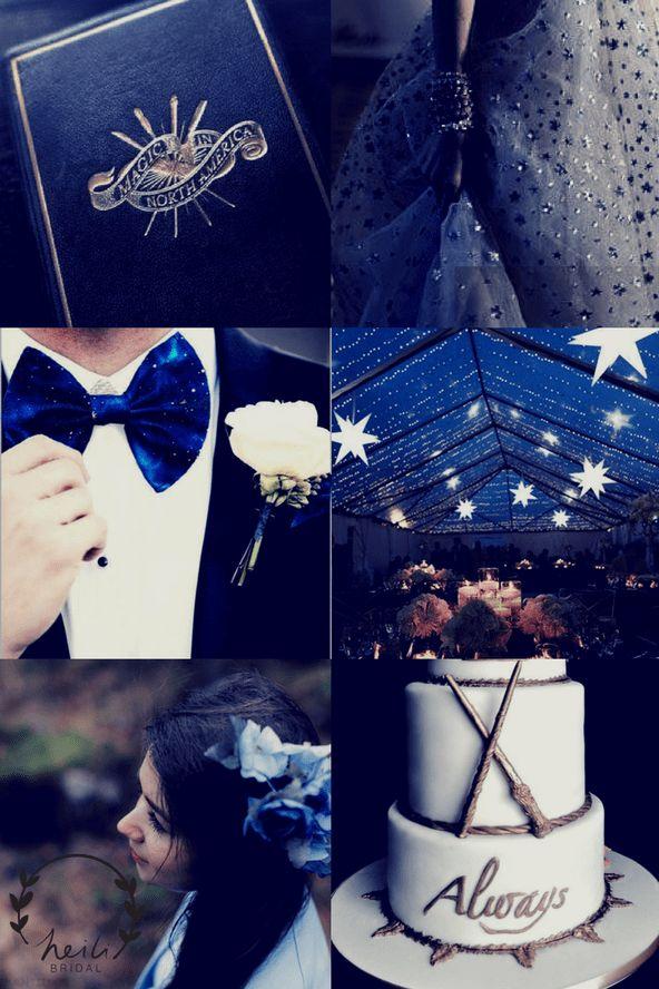 Blue Wizarding Wedding Aesthetics Board