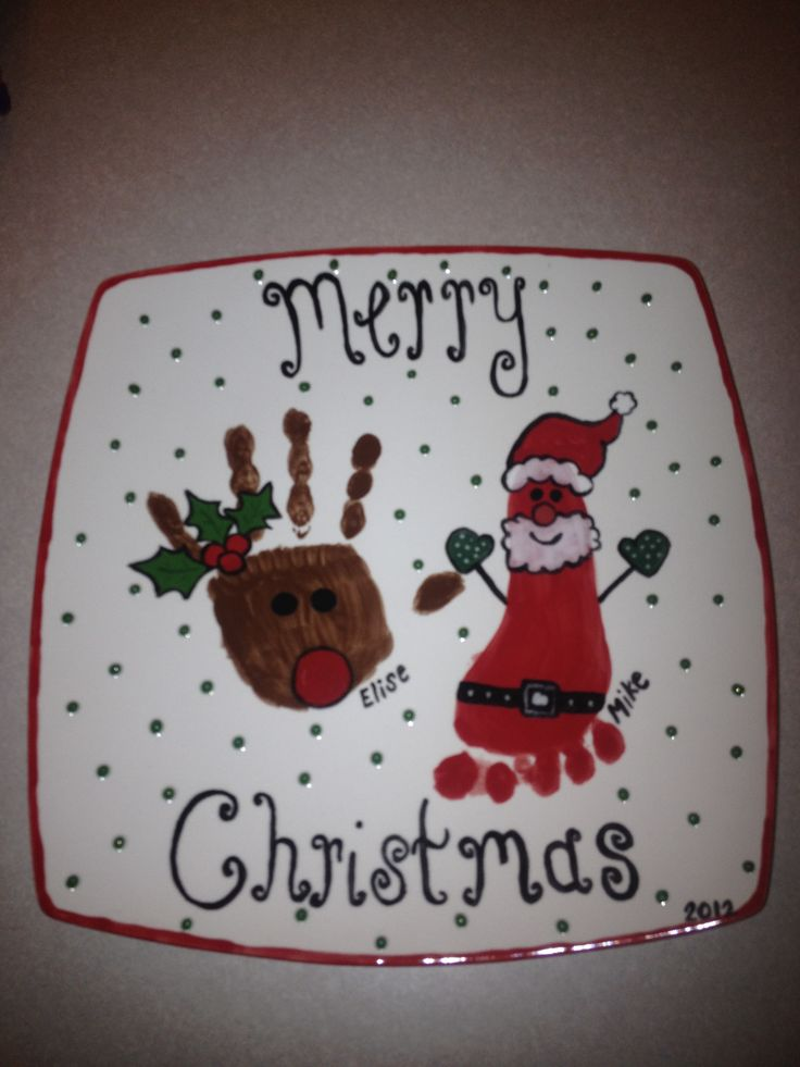 Christmas handprint plate! :) | crafts | Pinterest