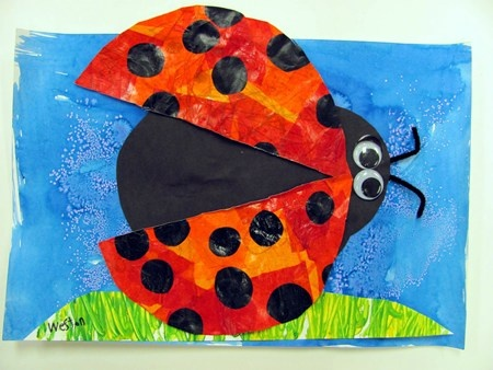 Eric Carle Inspired Ladybugs: Finger paint the background creating a horizon line. Have each wing be a primary color, and then the body of the ladybug be the secondary color--use tissue paper for all parts of the bug. When assemble use a brad so the wings move.