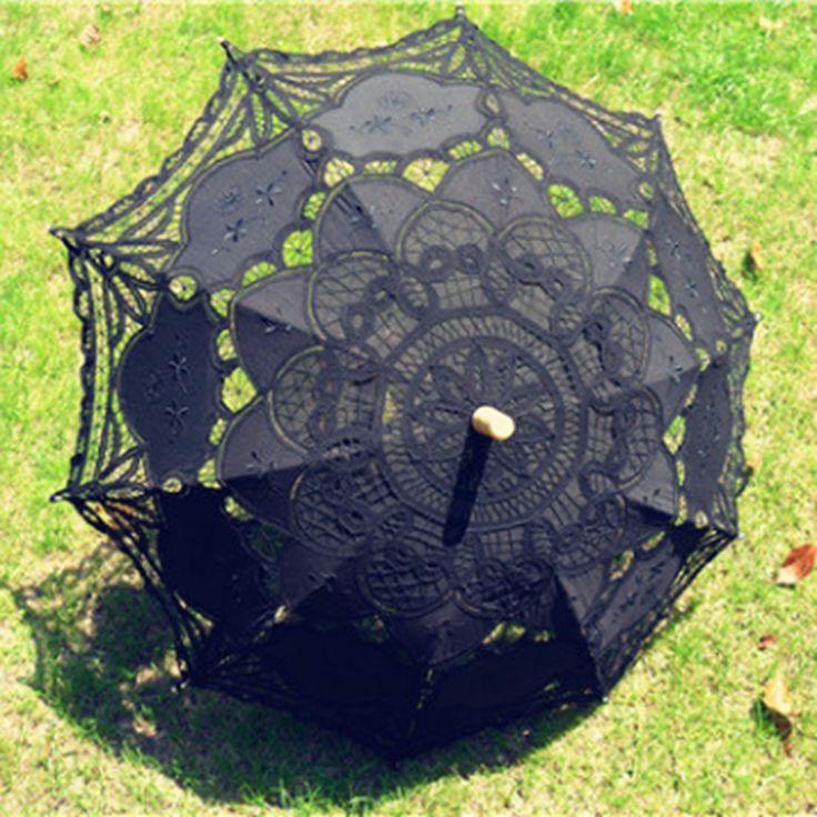 ==> [Free Shipping] Buy Best Battenburg Lace Umbrella Wedding Bridal Parasol Black Umbrella Online with LOWEST Price   1227540962