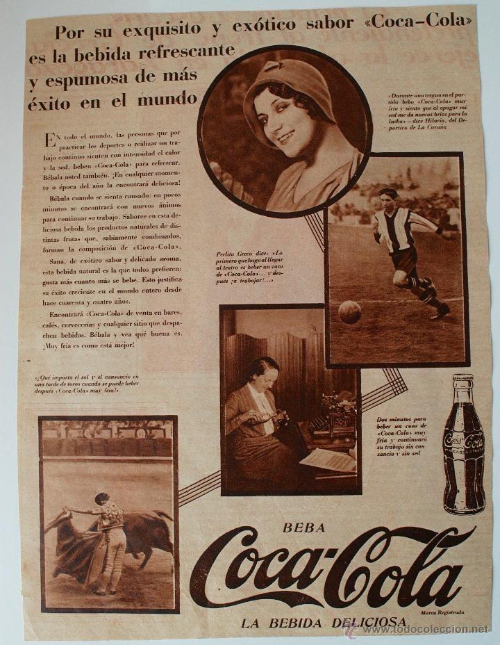 RARA PUBLICIDAD DE PRENSA ORIGINAL 1930 COCA-COLA. HILARIO, DEPORTIVO DE LA CORUÑA