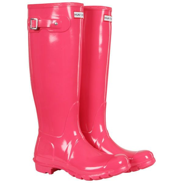Hunter Women's Original Tall Gloss Wellies - Crimson Pink ($69) ❤ liked on Polyvore featuring shoes, boots, botas, hunter, rain boots, crimson pink, wellies boots, rubber sole boots, tall rain boots and knee high rubber boots