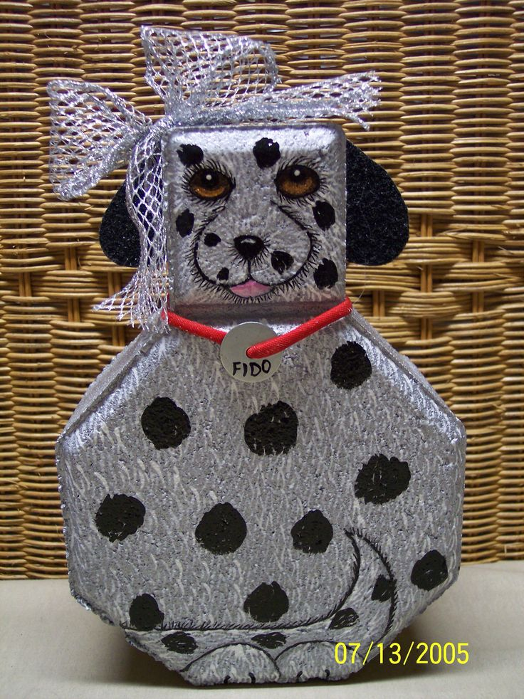 Dog Painted On Paver Stone. By Linda Hallett