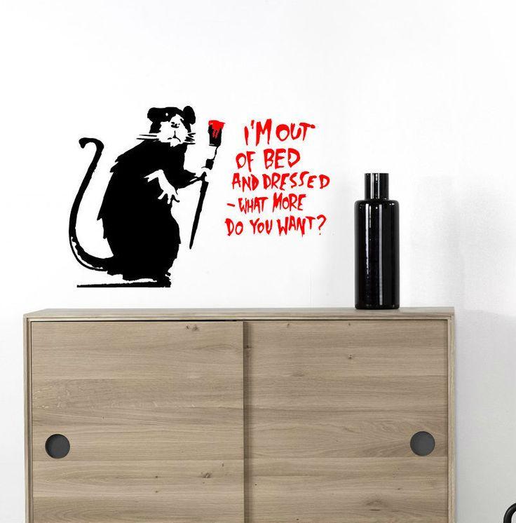Wall stickers Banksy rats adesivi murali decorazione frasi da parete cm 41x29 | eBay