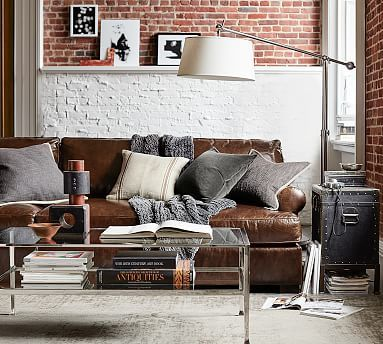 townsend roll arm leather sofa collection potterybarn remodel rh pinterest com