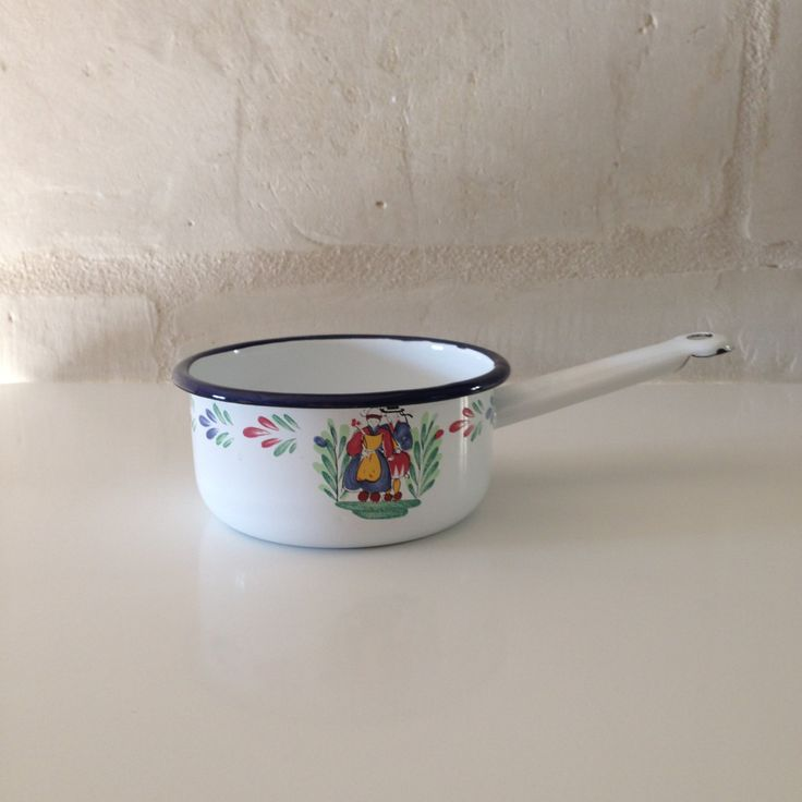 Stunning French Vintage Quimper Normandy Enamel Saucepan / Rustic France Farmhouse / Enamelware Pot / Hanging Cookware /  Country Chic by BonneBrocante on Etsy