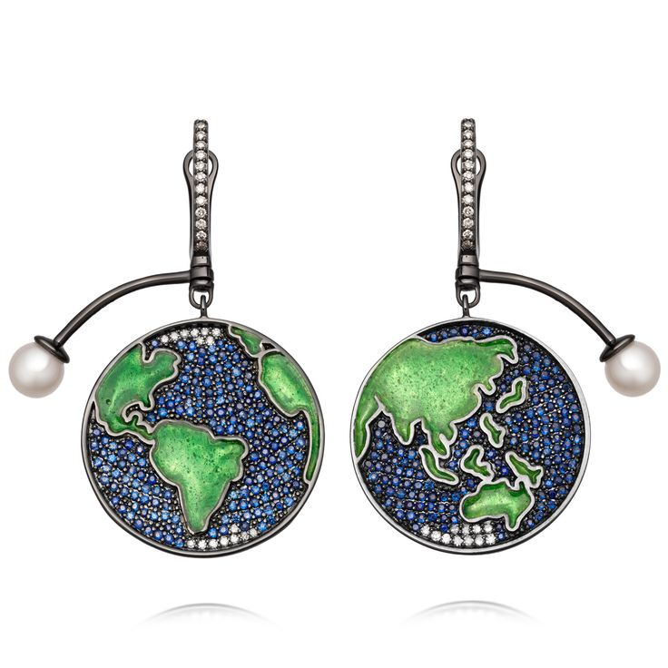 Sapphire Earth Drop Earrings.  Sapphire and diamonds with hot glass enamelling and a peal moon.