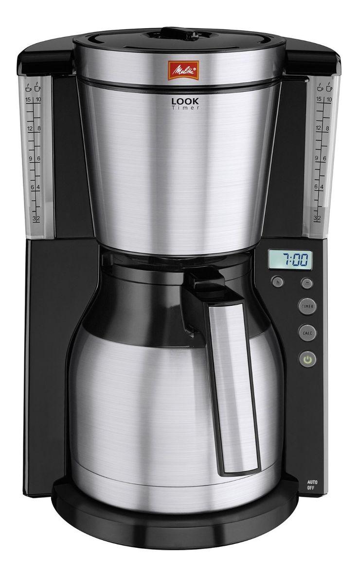 Melitta 101116 Cafetière filtre Look Therm Timer IV- verseuse isotherme- AromaSelector- programmable- détartrage- Noir/Acier: Amazon.fr: Cuisine & Maison