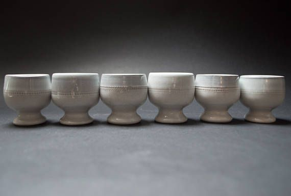 Vintage footed egg cup set of 6 Savoy series Hoganas Keramik Sweden Stoneware egg holders Rustic serving Rustic decor Scandinavian pottery